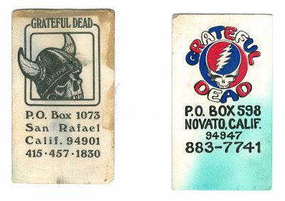 Two business cards from Ned.  The telephone numbers are no longer affiliated with the Grateful Dead.