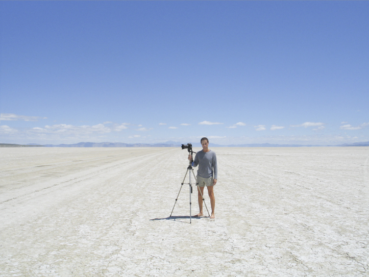 Ned Lagin with camera on Black Rock Desert playa
