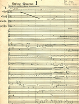 String quartet score image 1 - photo by Ned Lagin